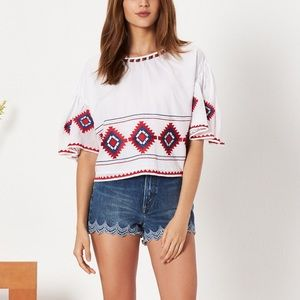 Tularosa Sienna Top Crop Embroidered Bell Sleeve